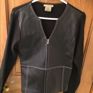 Black leather and knit fabric sweater